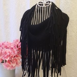 Black knitted tube scarf